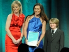 Photo of Laurie and Connor McDonald accepting the Finalists Certificate at the Telstra 2012 Business Awards