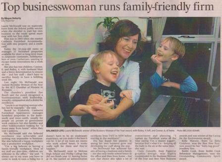 Image of Business Woman of the Year Article in 2009